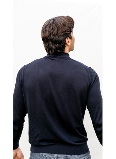 Silk and Cashmere More Tony Modal Ve Pamuklu Yarim Balikçi Yaka Uzun Kollu Erkek Triko Siyah